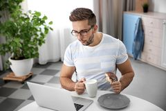 Young man having snack while working with laptop in kitchen Royalty Free Stock Images