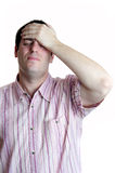 Young man and headache stock image