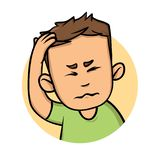 Young man with a headache, guy holding hand to his head. Flat design icon. Flat vector illustration. Isolated on white. Young man with a headache, guy holding stock illustration
