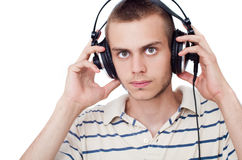 Young man with headphone Royalty Free Stock Image