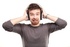 Young man in headphone Royalty Free Stock Images