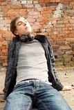 Young man with headphones Royalty Free Stock Photo