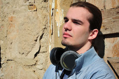 Young man with headphones Royalty Free Stock Photography