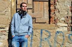 Young man with headphones Stock Image