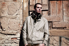 Young man with headphones Royalty Free Stock Photos