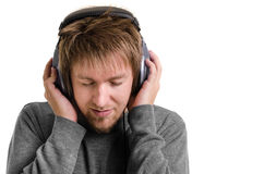 Young man with headphones Stock Photography