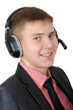 Young man in headphones - callas center operator Royalty Free Stock Photography