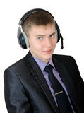 Young man in headphones - callas center operator Royalty Free Stock Photos