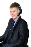 Young man in headphones - callas center operator Stock Images