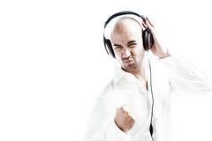 Young man with headphones enjoying the music Royalty Free Stock Photos