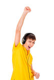 Young Man in Headphones Stock Photo