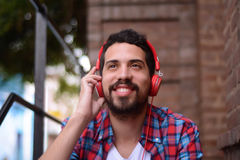 Young man with headphones. Stock Images