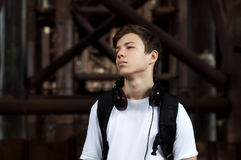 Young man with headphones listening to music Stock Photography