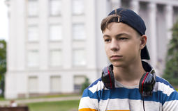 Young man with headphones listening to music. Stylish young man in headphones listening to music Royalty Free Stock Photo
