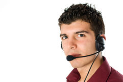 Young man with headset Royalty Free Stock Image