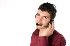 Young man with headset Stock Image