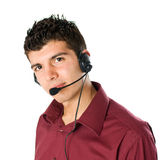 Young man with headset Stock Photo
