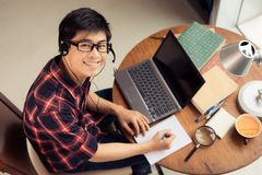 Young man in headset Royalty Free Stock Photo