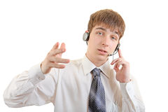 Young Man with Headset Stock Photography