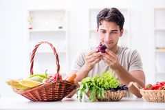 The young man in healthy eating and dieting concept royalty free stock image