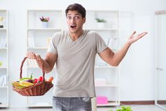 The young man in healthy eating and dieting concept stock images