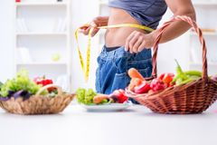 The young man in healthy eating and dieting concept. Young man in healthy eating and dieting concept Royalty Free Stock Photography