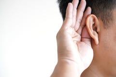 Young man hearing loss sound waves simulation technology Hear. Young man hearing loss sound waves simulation technology stock images