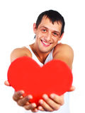 Young man with a heart Stock Image