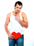 Young man with a heart Stock Photography