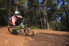Young man with a helmet riding a mountain bike. A young man with a helmet riding a mountain bike on a forest trail Royalty Free Stock Image