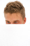 Young man hiding Royalty Free Stock Photo