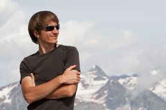 Young man high in the mountains Royalty Free Stock Photography