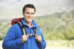 Young Man On Hike In Beautiful Countryside Royalty Free Stock Image