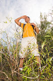 Young man hiker on the hill Royalty Free Stock Photography