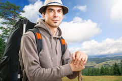 Young man hiker Stock Photos