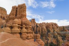 Young Man Hiking in the Colorful Rock Formations of Red Canyon Utah Royalty Free Stock Photos