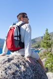 Young man hiking Stock Photos