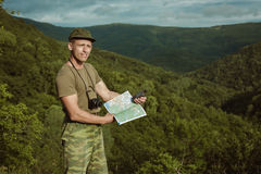 Young man hiking smiling happy portrait.  Stock Image
