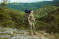 Young man hiking smiling happy portrait. Royalty Free Stock Photo