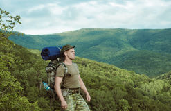 Young man hiking smiling happy portrait. Royalty Free Stock Image