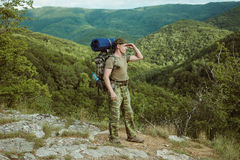 Young man hiking smiling happy portrait. Stock Photos