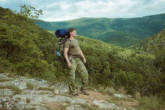 Young man hiking smiling happy portrait. Stock Images