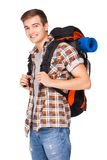 Young man hiking Stock Photo