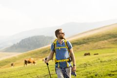 Young man hiking Royalty Free Stock Images
