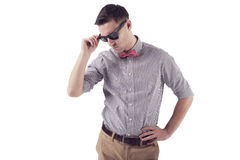Young man hipster with red bow tie sunglasses Stock Photo