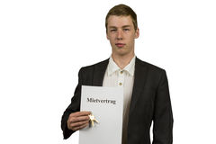 Young man hire contract 1 Stock Images