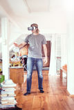 Young Man In His Apartment, Using Vr Glasses Royalty Free Stock Images