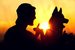 Young man and his dog friend having fun together. Enjoying sunset time together. Travelling and vacation concept Royalty Free Stock Photos
