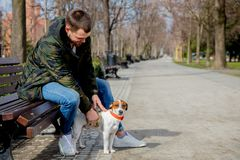 Young man with his dog, Jack Russell Terrier,. On the city street in spring time stock images