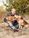Young man with his dog on sunny autumn forest glade with mushroo Stock Photos